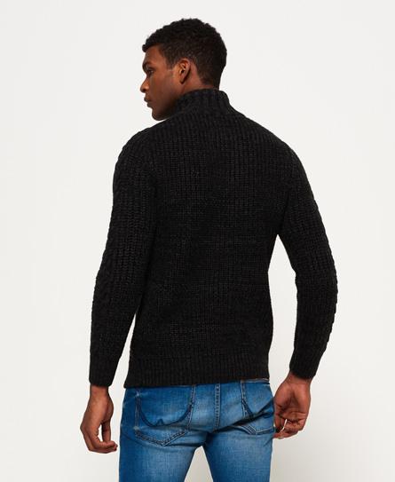 Mens mariner henley jumper in dark charcoal black twist for Whats a henley shirt