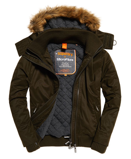 army/army Superdry Microfibre Fur Hooded Windbomber Jacket