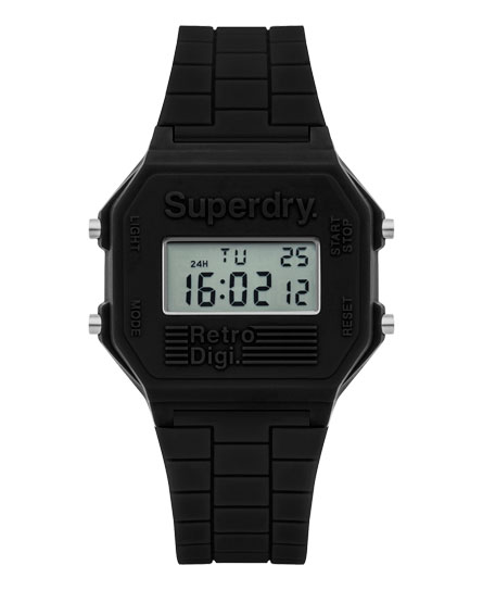black Superdry Retro Digi Colour Block Watch