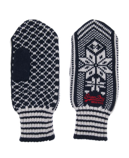 Superdry Fairisle Mittens Navy