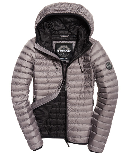 Womens Core Down Hooded Jacket In Comet Silver Superdry