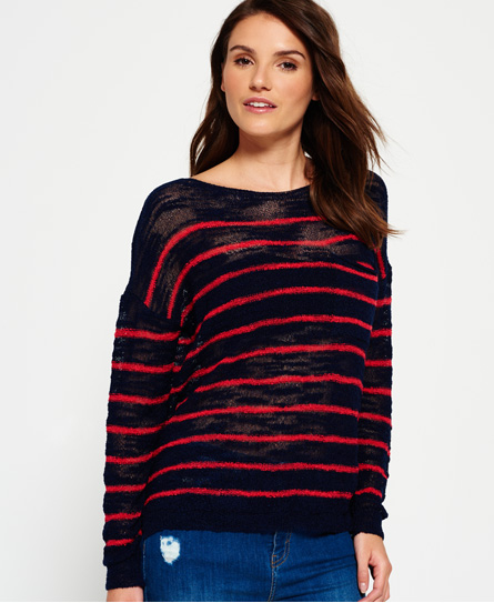 navy/wild pink stripe Superdry Rio Slub Pocket Knitted Top