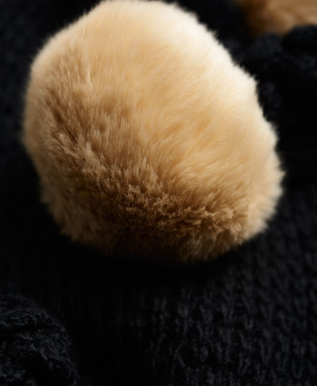 Superdry Bobble Stitch Pom Pom Fur Scarf