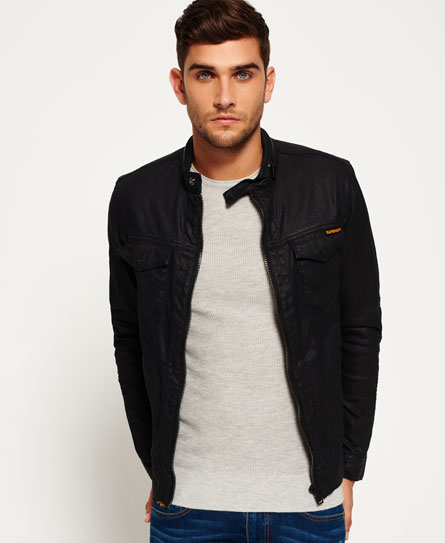 charcoal resinated Superdry Denim Biker Jacket