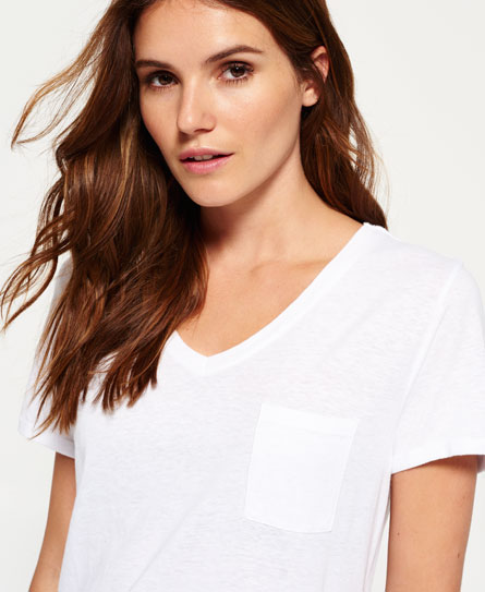 weiss Superdry Viscose Neppy Slouch T-Shirt