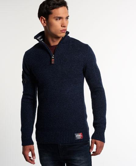 Mens - Vintage Sweatshirt Knit Henley in Rich Navy Twist | Superdry