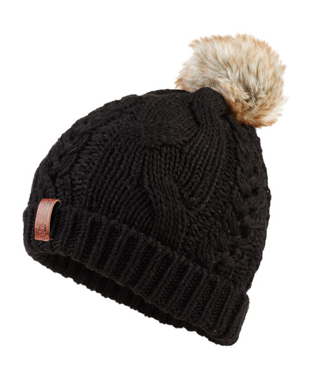 black Superdry North Cable Bobble Hat