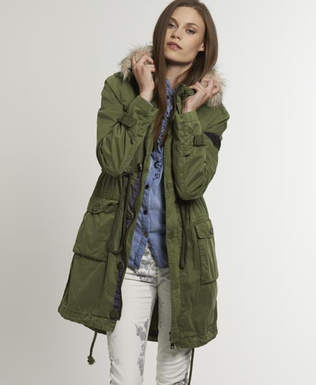 womens super desert parka in dark army green superdry. Black Bedroom Furniture Sets. Home Design Ideas