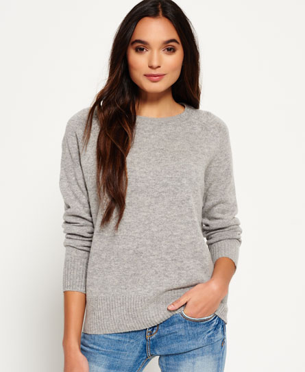 mid grey Superdry Downtown Raglan Knitted Jumper
