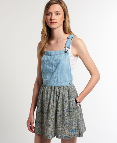 Superdry Vintage Dungaree Dress Blue