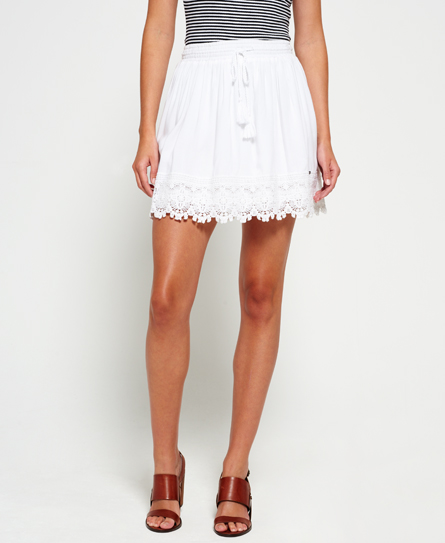 white Superdry Lacy Prairie Skirt