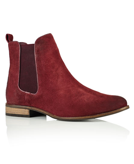 Superdry Millie Suede Chelsea Boots Red