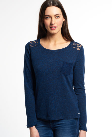 rugged navy Superdry Essentials Lace Slouch Shirt