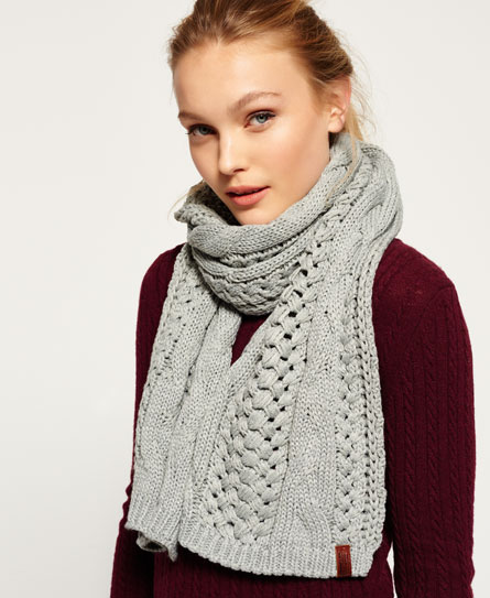 grey sparkle Superdry North Cable Scarf