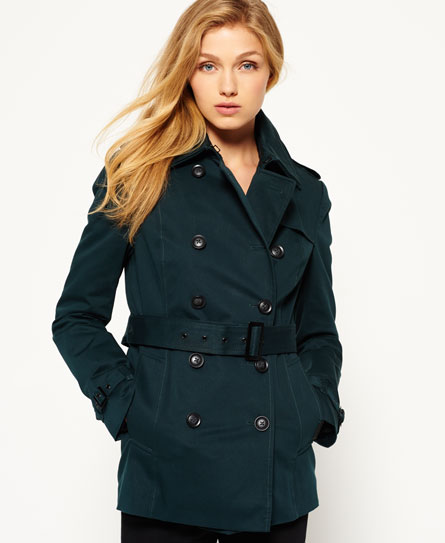 super dark teal Superdry Winter Belle trenchcoat