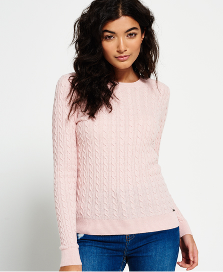 blush Superdry Summer Luxe Mini Cable Knit Jumper