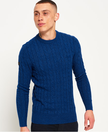 carbon blue Superdry Harlo Cable Crew Jumper