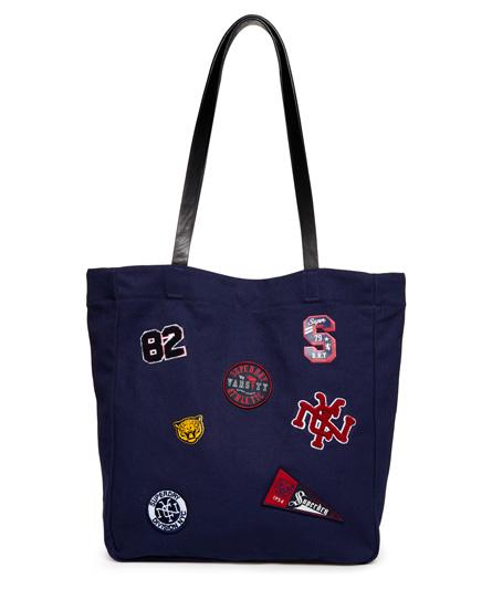 marineblau Superdry Kinlie Einkaufstasche mit Aufnähern