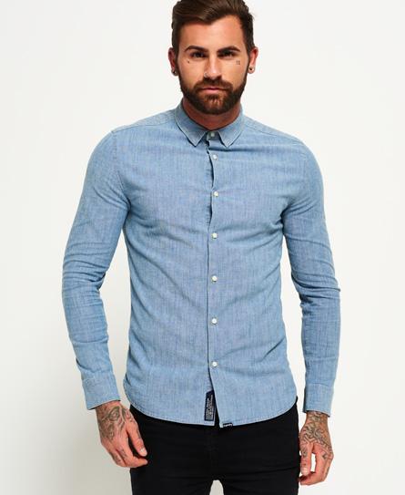 Superdry Superdry Tailored Indigo Slim skjorte med lange ærmer
