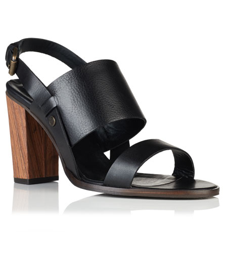 black Superdry Blake Wooden Heel Sandals