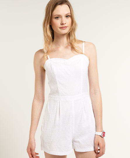 Superdry 50s Swiss Playsuit White