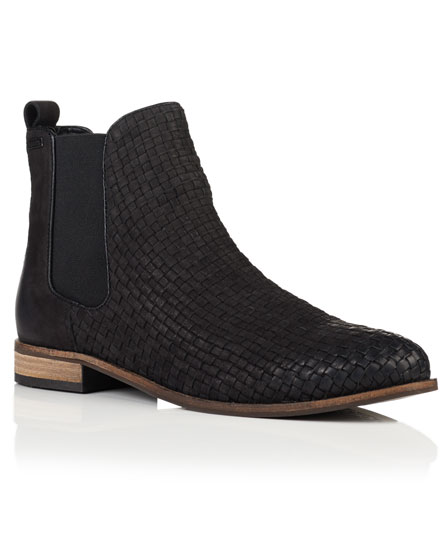 schwarz Superdry Millie Woven Chelsea Boots