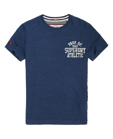 leuchtendes marineblau meliert Superdry T-Shirt mit Applikation