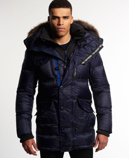 Mens - Atmosphererix Military Down Parka Jacket in Navy | Superdry