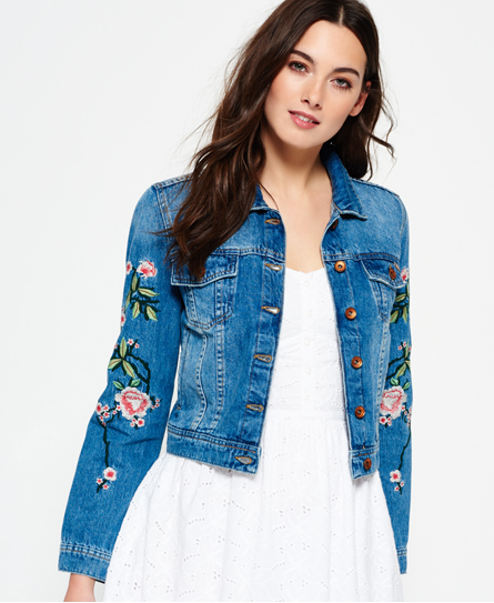 Womens - Embroidered Sleeve Denim Jacket in Mid Wash | Superdry
