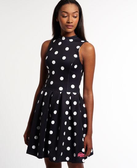 eclipse navy/white polka dot Superdry Premium Scuba Kleid