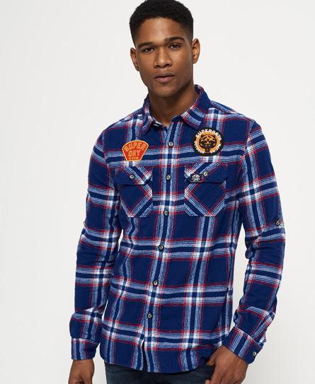 cadmium blau kariert Superdry Lumberjack Hemd mit Aufnähern