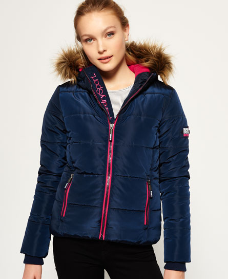 Fur Hooded Sports Puffer Jacket