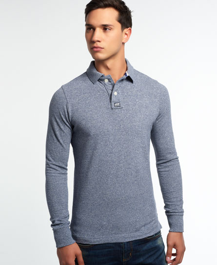 mens classic long sleeve pique polo shirt in storm blue