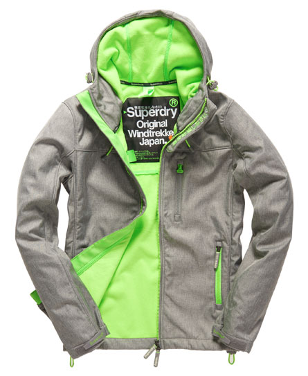 hooded windtrekker jacket in light grey marl fluro lime superdry. Black Bedroom Furniture Sets. Home Design Ideas