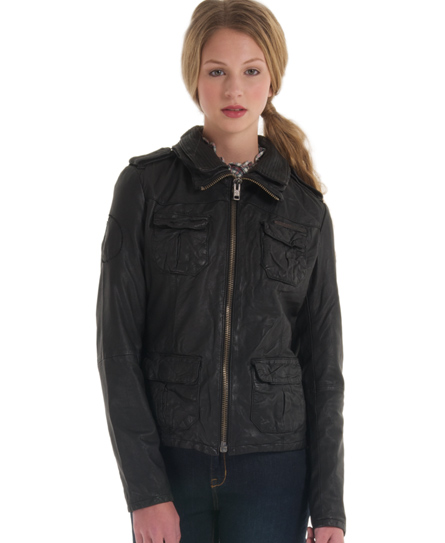 Superdry Ramona Leather Jacket Black