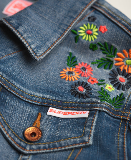 Womens - Embroidered Denim Jacket In Surf Blue / Multi | Superdry