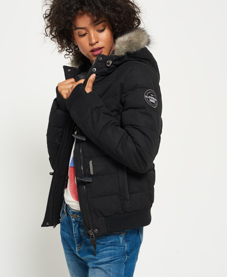 black Superdry Microfibre Toggle Puffle Jacket