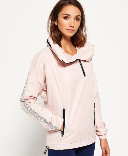 Superdry Gym Funnel Neck Shell Hooded Jacket Pink