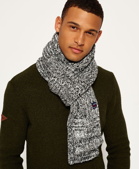 white twist Superdry Super Cable Scarf