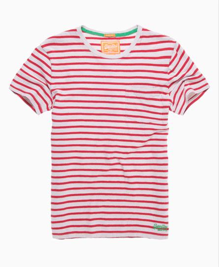 Superdry Striped Pocket T-shirt Red