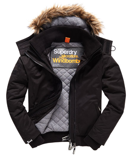 Superdry Microfibre Fur Hooded Windbomber Jacket Black