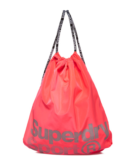 fluro pink Superdry Drawstring Sport Bag