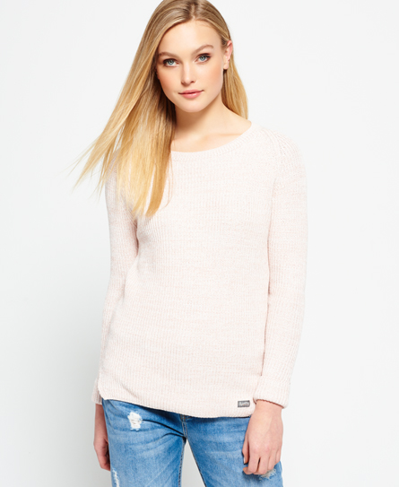 peach twist Superdry Austin Cotton Rib Knit Jumper