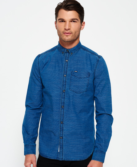 Superdry Superdry Indigo Loom Oxford skjorte