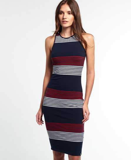 navy yacht stripe Superdry Starboard Stripe Midikleid