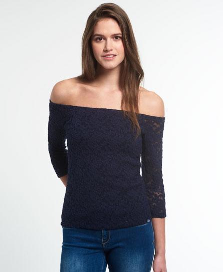 dunkel marineblau Superdry Essentials Off Shoulder Spitzenshirt