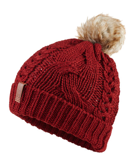 dark rust Superdry North Cable Bobble Hat