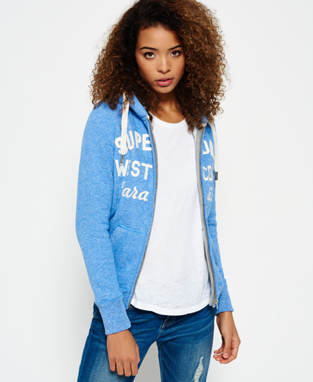 cali blue Superdry Sweat à capuche zippé Appliqué