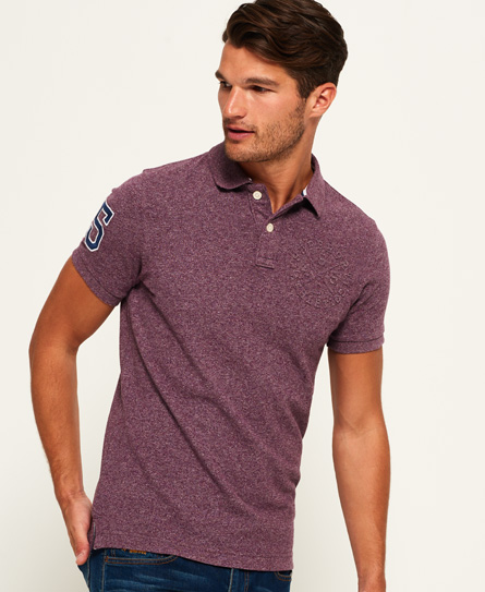 deep burgundy grit Superdry Classic Embossed Pique Polo Shirt