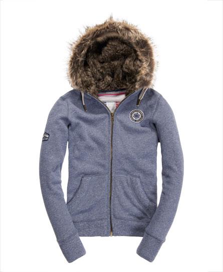 Superdry Applique Luxe Fur Zip Hoodie